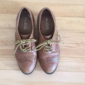 Aldo Shoes - Leather Wingtip Oxford Style Heel
